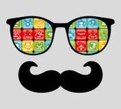 Retro zonnebril met bezinning voor hipster. Stock Foto's