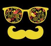 Retro zonnebril met bezinning voor hipster. Royalty-vrije Stock Foto's