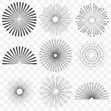 Retro zonnestraal, stralende en gekleurde reeks stock illustratie
