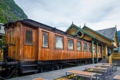 Retro- Zug in Flam, Norwegen Stockbild