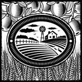 Retro zwart-wit landbouwbedrijf Royalty-vrije Stock Foto's