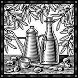 Retro zwart-wit olijfoliestilleven Royalty-vrije Stock Afbeelding