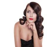 Retro zwart-wit portret van donkerbruine vrouw Stock Afbeelding