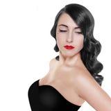 Retro zwart-wit portret van donkerbruine vrouw Royalty-vrije Stock Afbeelding