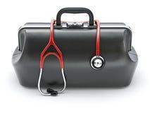 Retro zwarte leer artsen` s zak met de stethoscoop Royalty-vrije Stock Afbeelding