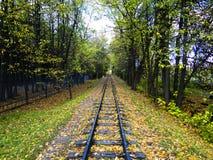 Retrocedendo nella distanza di una ferrovia abbandonata Fotografia Stock