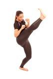 Retroceso con el pie del karate Imagenes de archivo