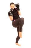 Retroceso con el pie del karate Foto de archivo libre de regalías