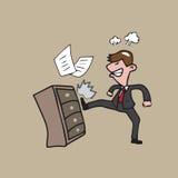 Retroceso con el pie enojado del hombre de negocios ilustración del vector