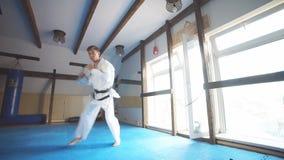 Retroceso de la altura del entrenamiento del combatiente del karate de la correa negra metrajes
