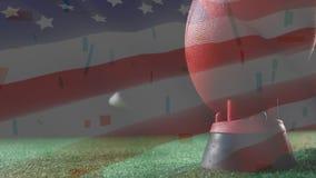 Retroceso de la animación de la bola con el pie con el fondo de la bandera americana stock de ilustración