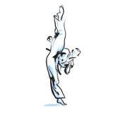 Retroceso del karate ilustración del vector