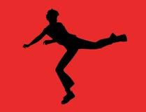 Retroceso del muchacho con el pie Fotografía de archivo libre de regalías