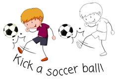 Retroceso del muchacho del garabato un balón de fútbol libre illustration