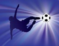 Retrocesso azul do futebol do starburst ilustração stock