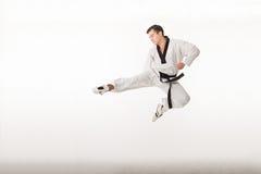 Retrocesso da arte marcial de Taekwondo Imagens de Stock
