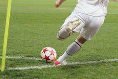 Retrocesso de canto do futebol Fotos de Stock