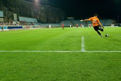 Retrocesso do guarda-redes do futebol a esfera da área de penalidade Foto de Stock Royalty Free