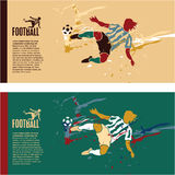 Retrocesso do jogador de futebol a esfera ilustração do vetor