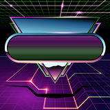 Retrofuturistic chrome and neon banner. 1980`s inspired sci-fi background with chrome and neon. Graphics are grouped and in several layers for easy editing. The Stock Images