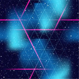 Retrofuturistic seamless space background. 1980's inspired retrofuturistic seamless pattern. Graphics are grouped and in several layers for easy editing. The Stock Image
