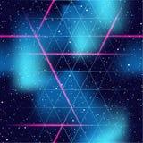 Retrofuturistic seamless space background stock illustration