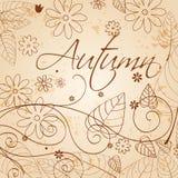 Retrol autumn leaves illustration Stock Photos