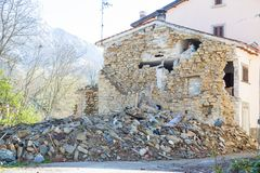 The damage caused by the earthquake that hit central Italy in 20 Royalty Free Stock Photography