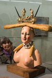 Retrospective Female Bust. Saint-Petersburg, Russia - October 28, 2016: Exhibition of works by Salvador Dali in the State Hermitage. Spectator consider sculpture royalty free stock photography