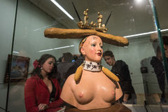 Retrospective Female Bust. Saint-Petersburg, Russia - October 28, 2016: Exhibition of works by Salvador Dali in the State Hermitage. Spectator consider sculpture stock image