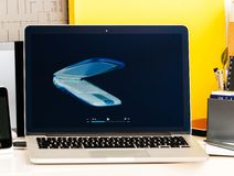 Retrospective of old iBook, MacBook Pro, PowerBook laptops Apple Royalty Free Stock Images