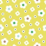 Retrostil-einfache weiße Blumen auf zitronengelber Hintergrund-Vektor-nahtlosem Muster Säubern Sie abstrakten Blumendruck stock abbildung