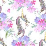 Retrostil-Illustration mit Blumen und Tier Lizenzfreie Stockbilder
