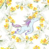 Retrostil-Illustration mit Blumen und Tier Stockbild