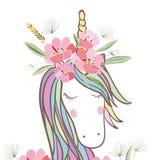 Retrostil-Illustration mit Blumen und Tier Lizenzfreies Stockfoto