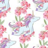 Retrostil-Illustration mit Blumen und Tier Lizenzfreie Stockfotos
