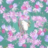 Retrostil-Illustration mit Blumen und Tier Lizenzfreie Stockfotografie