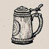 Retrostilbierkrug- oder -glasstich Lokale Brauerei Weinlesevektor-Stichillustration für Netz, Plakat, Aufkleber Stockbilder