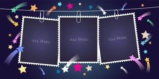 Retrostilcollage von Fotorahmen mit Stapelvektorillustration vektor abbildung