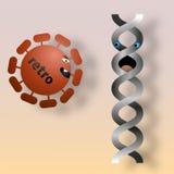 Retrovirus attacking DNA. Illustration of retrovirus going to attack molecule of DNA stock photo