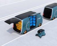 Retrovisione dei furgoni e del fuco di consegna nella via illustrazione vettoriale