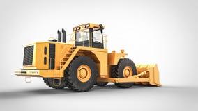 Retrovisione del bulldozer giallo del trattore Fotografia Stock Libera da Diritti