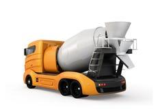 Retrovisione del camion della betoniera isolato su fondo bianco Fotografie Stock