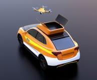 Retrovisione del fuco del quadcopter decollare dal salvataggio elettrico arancio SUV su fondo nero illustrazione di stock