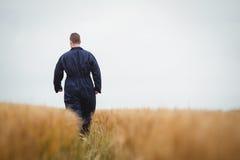 Retrovisione dell'agricoltore che cammina nel campo Fotografie Stock