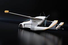 Retrovisione dell'automobile autonoma futuristica su fondo nero royalty illustrazione gratis