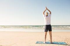 Retrovisione dell'uomo senior che allunga alla spiaggia Immagini Stock Libere da Diritti