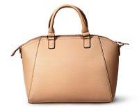 Retrovisione della borsa beige delle donne eleganti Fotografia Stock