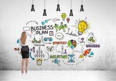 Retrovisione della donna in gonna e nel business plan Fotografia Stock