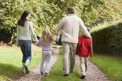 Retrovisione della famiglia che cammina lungo la pista Fotografia Stock